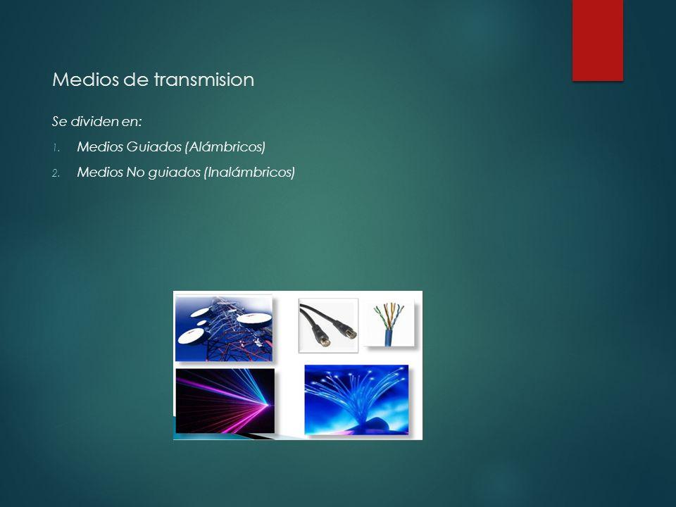 Medios de transmision Se dividen en: 1.Medios Guiados (Alámbricos) 2.