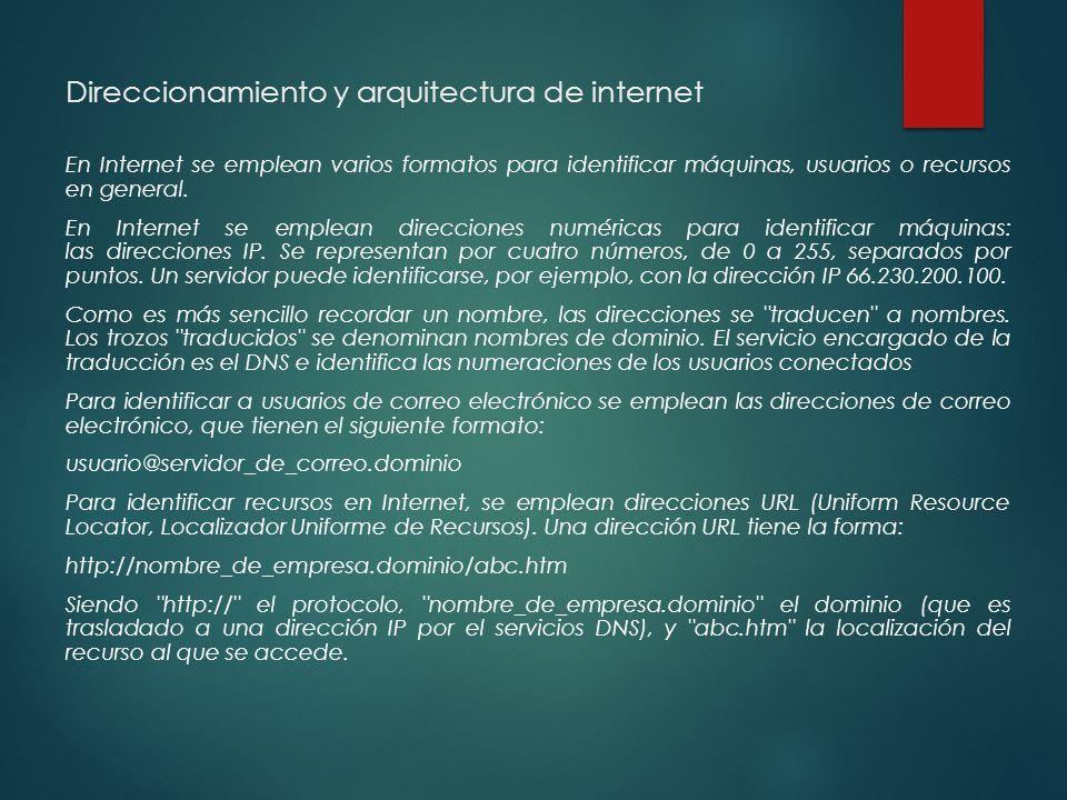 Direccionamiento y arquitectura de internet En Internet se emplean varios formatos para identificar máquinas, usuarios o recursos en general.