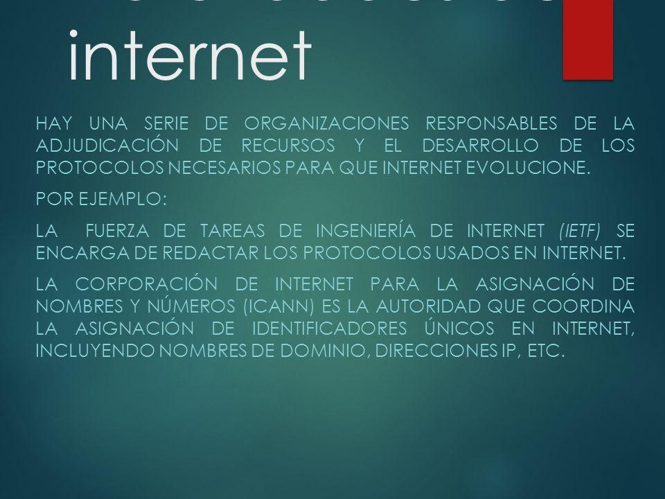 Autoridades de internet HAY UNA SERIE DE ORGANIZACIONES RESPONSABLES DE LA ADJUDICACIÓN DE RECURSOS Y EL DESARROLLO DE LOS PROTOCOLOS NECESARIOS PARA QUE INTERNET EVOLUCIONE.