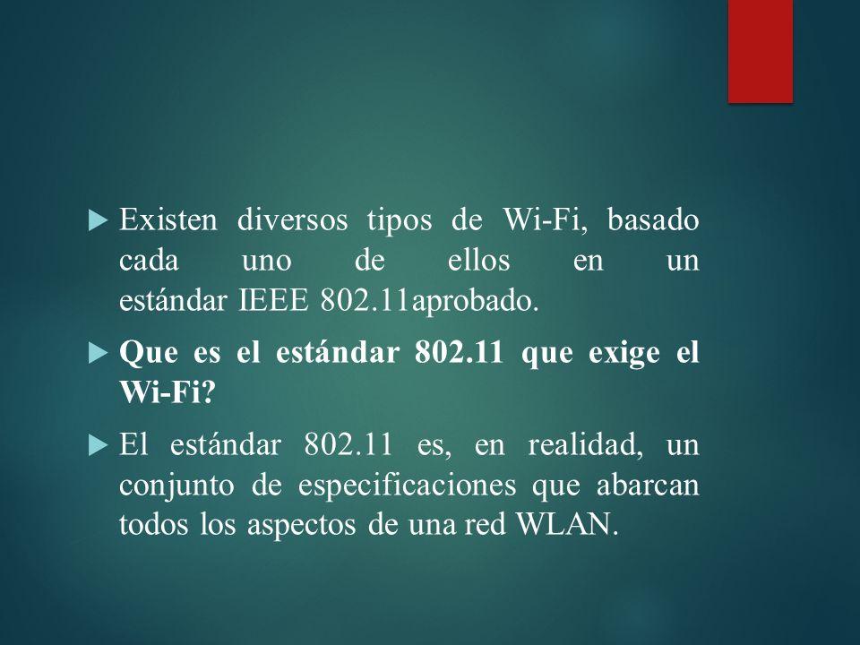 Existen diversos tipos de Wi-Fi, basado cada uno de ellos en un estándar IEEE 802.11aprobado.