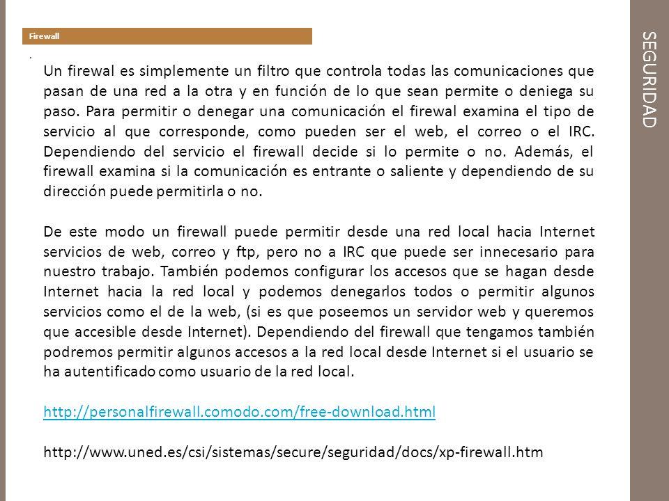 SEGURIDAD Firewall.