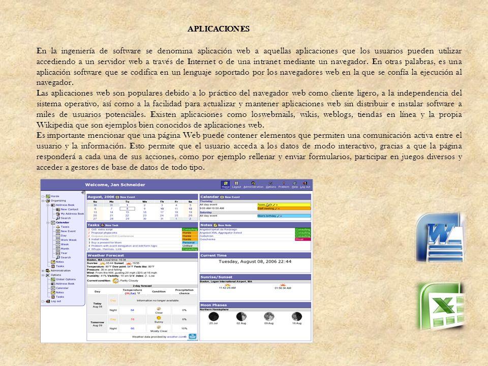 En la ingeniería de software se denomina aplicación web a aquellas aplicaciones que los usuarios pueden utilizar accediendo a un servidor web a través