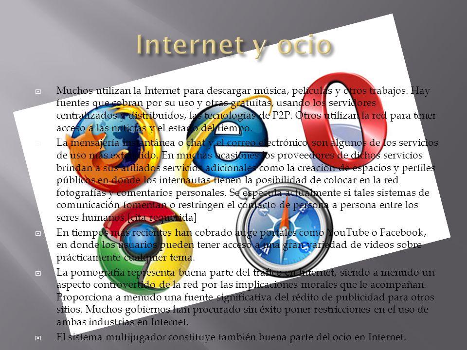 Muchos utilizan la Internet para descargar música, películas y otros trabajos. Hay fuentes que cobran por su uso y otras gratuitas, usando los servido