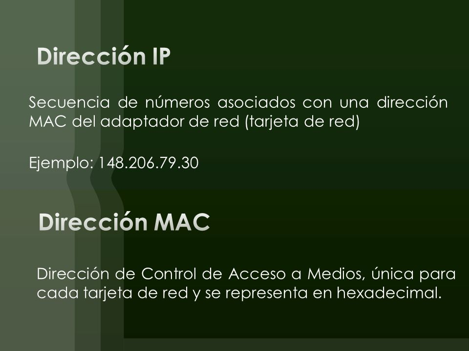 Secuencia de números asociados con una dirección MAC del adaptador de red (tarjeta de red) Ejemplo: 148.206.79.30 Dirección de Control de Acceso a Med