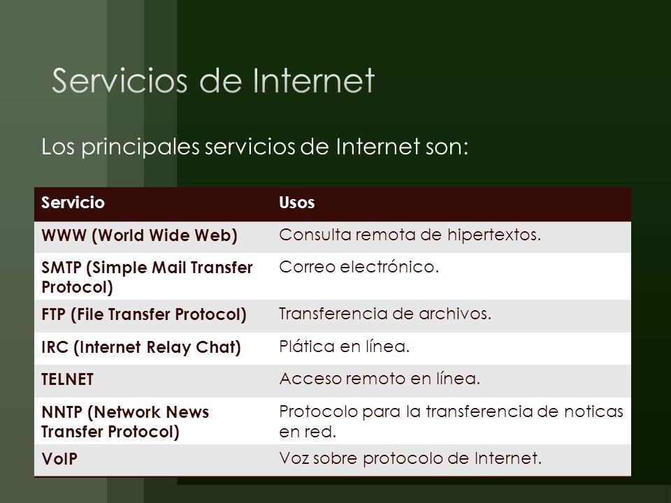 Los principales servicios de Internet son: ServicioUsos WWW (World Wide Web) Consulta remota de hipertextos. SMTP (Simple Mail Transfer Protocol) Corr