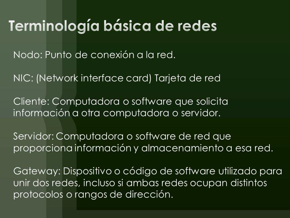 Nodo: Punto de conexión a la red. NIC: (Network interface card) Tarjeta de red Cliente: Computadora o software que solicita información a otra computa