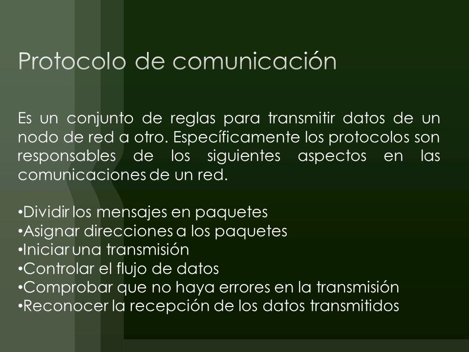 Es un conjunto de reglas para transmitir datos de un nodo de red a otro. Específicamente los protocolos son responsables de los siguientes aspectos en
