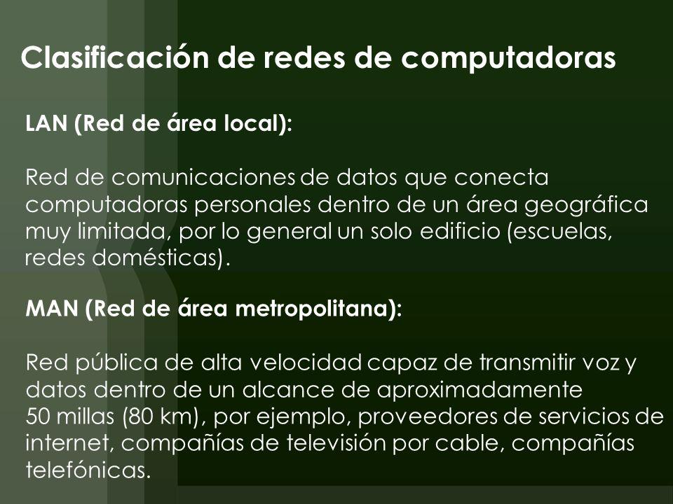 Clasificación de redes de computadoras WAN (Red de área amplia): Cubre un área geográfica grande, suele estar formada por redes más pequeñas, las cuales pueden emplear computadoras y tecnologías de red diferentes.