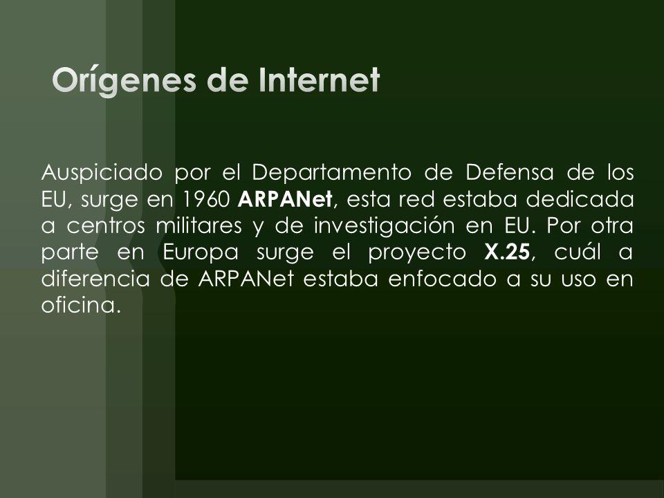 Auspiciado por el Departamento de Defensa de los EU, surge en 1960 ARPANet, esta red estaba dedicada a centros militares y de investigación en EU. Por