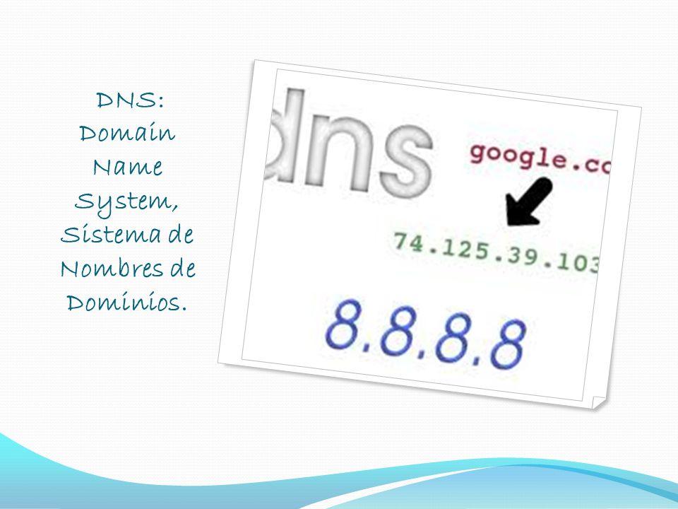 DNS: Domain Name System, Sistema de Nombres de Dominios.