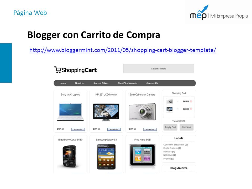 Página Web Blogger con Carrito de Compra http://www.bloggermint.com/2011/05/shopping-cart-blogger-template/