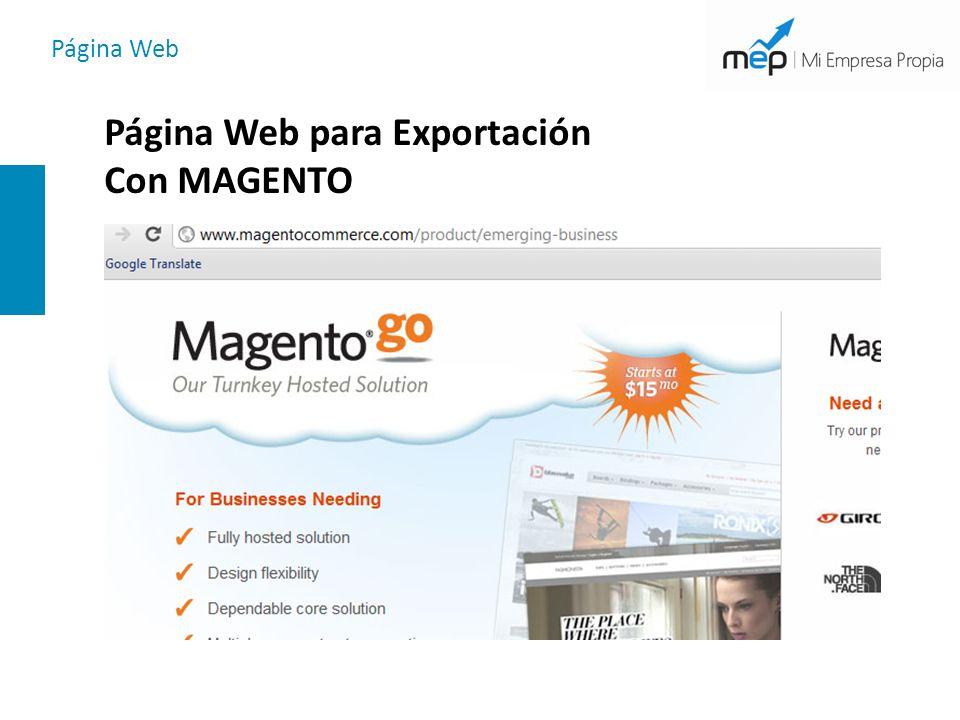 Página Web Página Web para Exportación Con MAGENTO