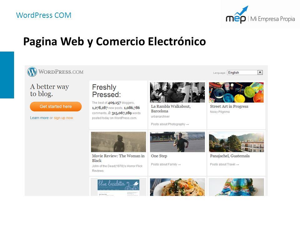 WordPress COM Pagina Web y Comercio Electrónico