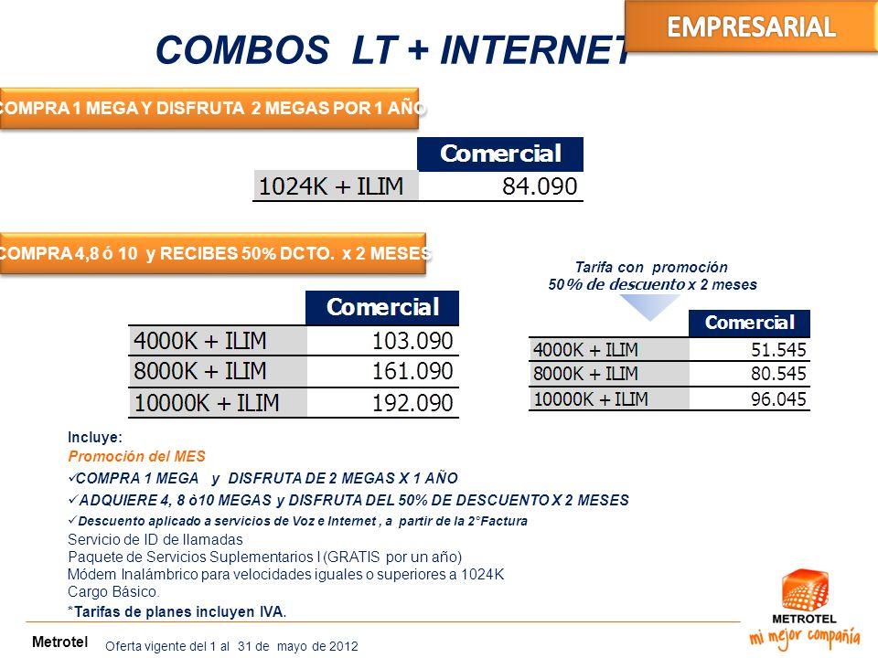 Metrotel COMBOS LT + INTERNET COMPRA 1 MEGA Y DISFRUTA 2 MEGAS POR 1 AÑO COMPRA 4,8 ó 10 y RECIBES 50 % DCTO. x 2 MESES Incluye: Promoción del MES COM