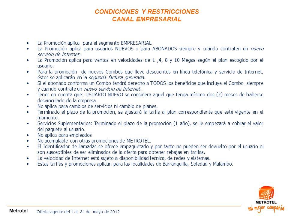 CONDICIONES Y RESTRICCIONES CANAL EMPRESARIAL Metrotel La Promoción aplica para el segmento EMPRESARIAL La Promoción aplica para usuarios NUEVOS o par