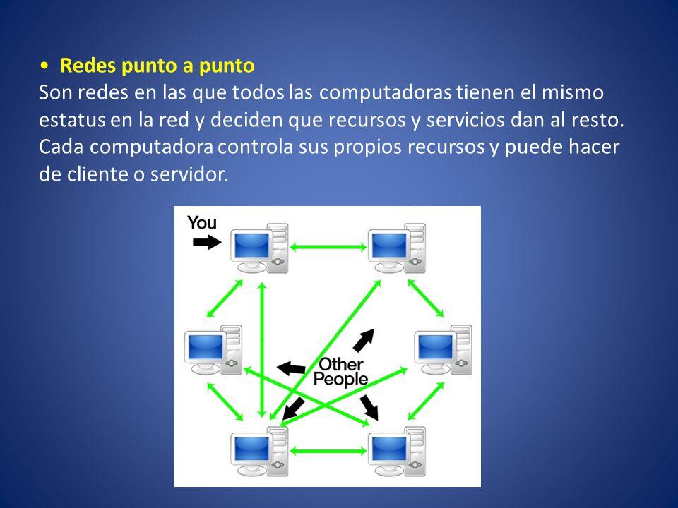 Redes punto a punto Son redes en las que todos las computadoras tienen el mismo estatus en la red y deciden que recursos y servicios dan al resto. Cad