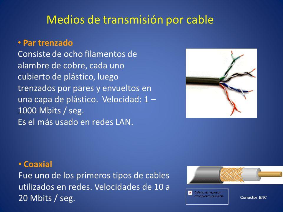 Medios de transmisión por cable Par trenzado Consiste de ocho filamentos de alambre de cobre, cada uno cubierto de plástico, luego trenzados por pares