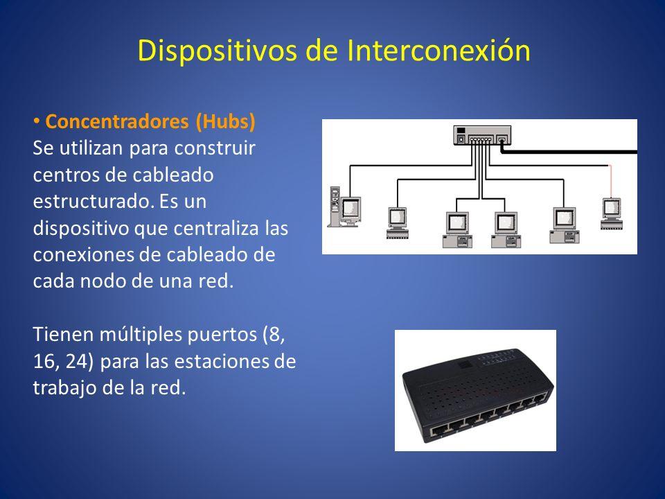 Dispositivos de Interconexión Concentradores (Hubs) Se utilizan para construir centros de cableado estructurado. Es un dispositivo que centraliza las