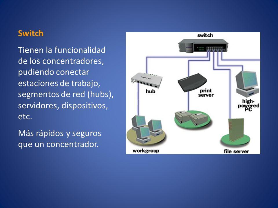 Switch Tienen la funcionalidad de los concentradores, pudiendo conectar estaciones de trabajo, segmentos de red (hubs), servidores, dispositivos, etc.