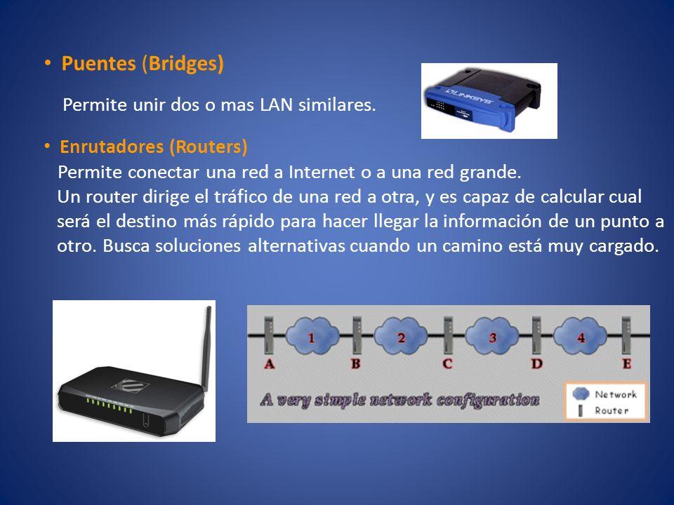 Puentes (Bridges) Permite unir dos o mas LAN similares. Enrutadores (Routers) Permite conectar una red a Internet o a una red grande. Un router dirige