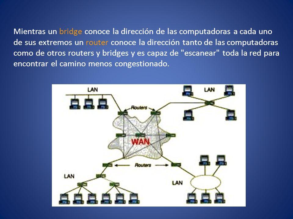 Mientras un bridge conoce la dirección de las computadoras a cada uno de sus extremos un router conoce la dirección tanto de las computadoras como de