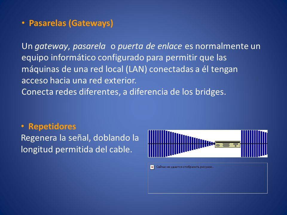 Pasarelas (Gateways) Un gateway, pasarela o puerta de enlace es normalmente un equipo informático configurado para permitir que las máquinas de una re