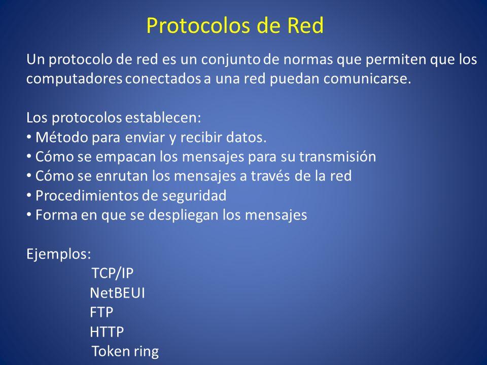 Protocolos de Red Un protocolo de red es un conjunto de normas que permiten que los computadores conectados a una red puedan comunicarse. Los protocol