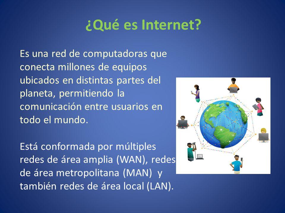Es una red de computadoras que conecta millones de equipos ubicados en distintas partes del planeta, permitiendo la comunicación entre usuarios en tod