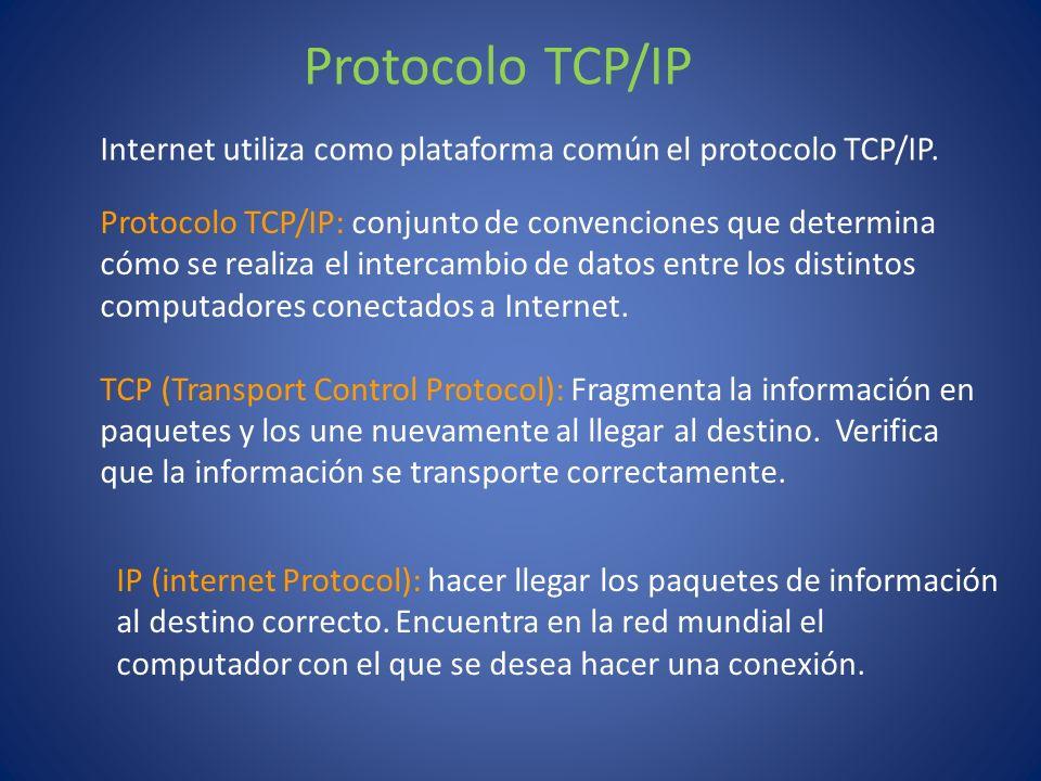 IP (internet Protocol): hacer llegar los paquetes de información al destino correcto. Encuentra en la red mundial el computador con el que se desea ha