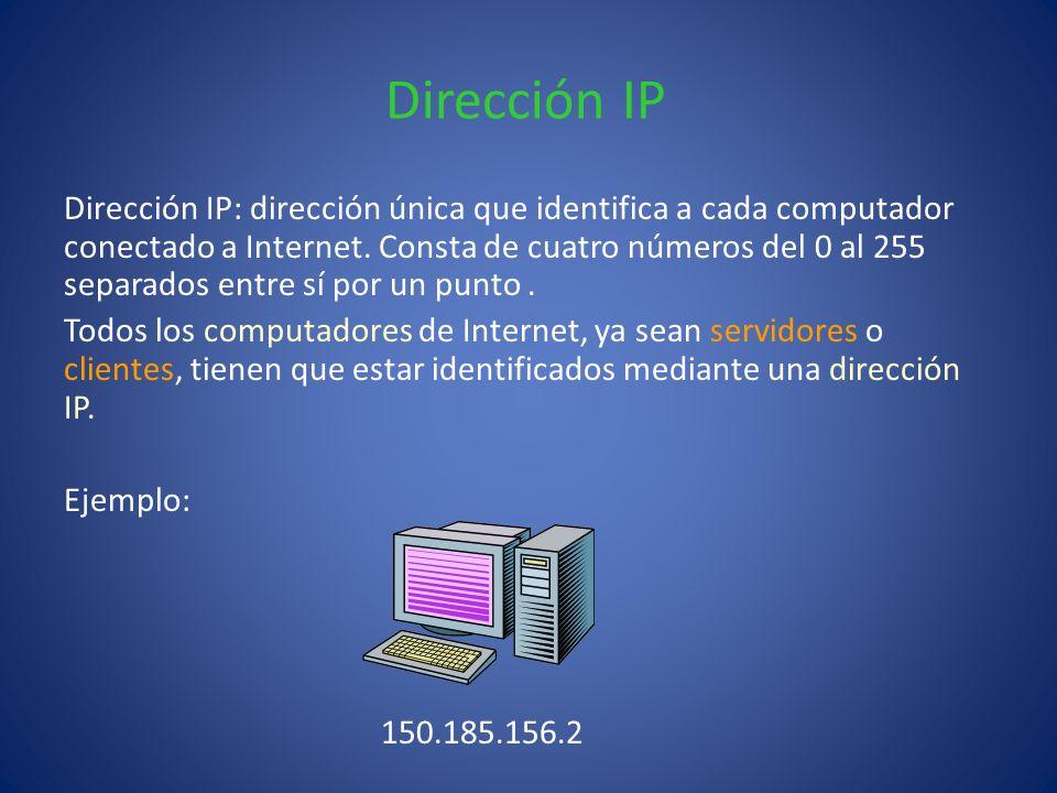 Dirección IP Dirección IP: dirección única que identifica a cada computador conectado a Internet. Consta de cuatro números del 0 al 255 separados entr