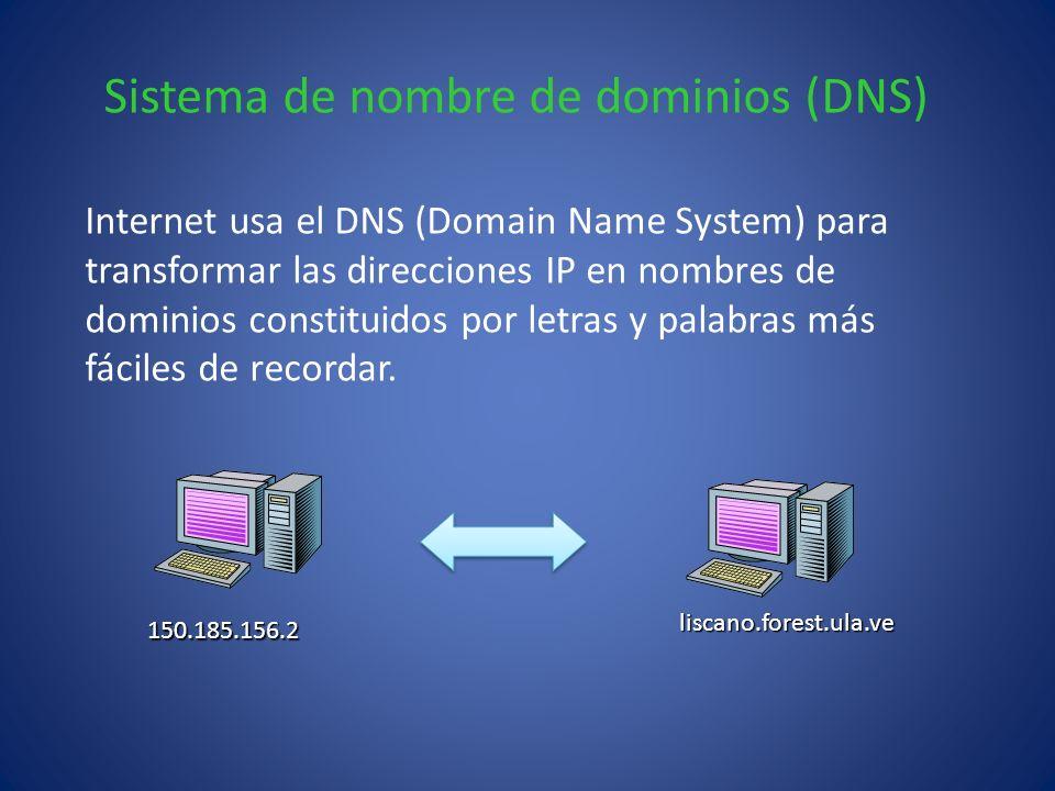 Sistema de nombre de dominios (DNS) Internet usa el DNS (Domain Name System) para transformar las direcciones IP en nombres de dominios constituidos p