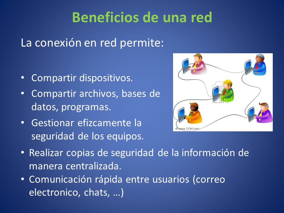Beneficios de una red La conexión en red permite: Compartir dispositivos.