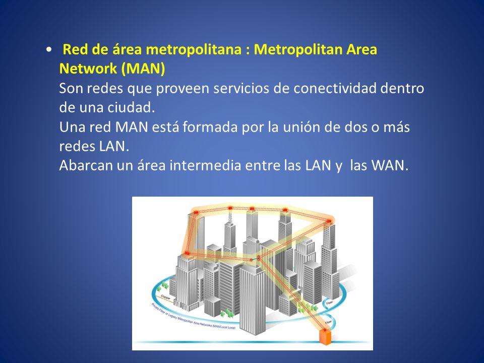 Red de área metropolitana : Metropolitan Area Network (MAN) Son redes que proveen servicios de conectividad dentro de una ciudad. Una red MAN está for
