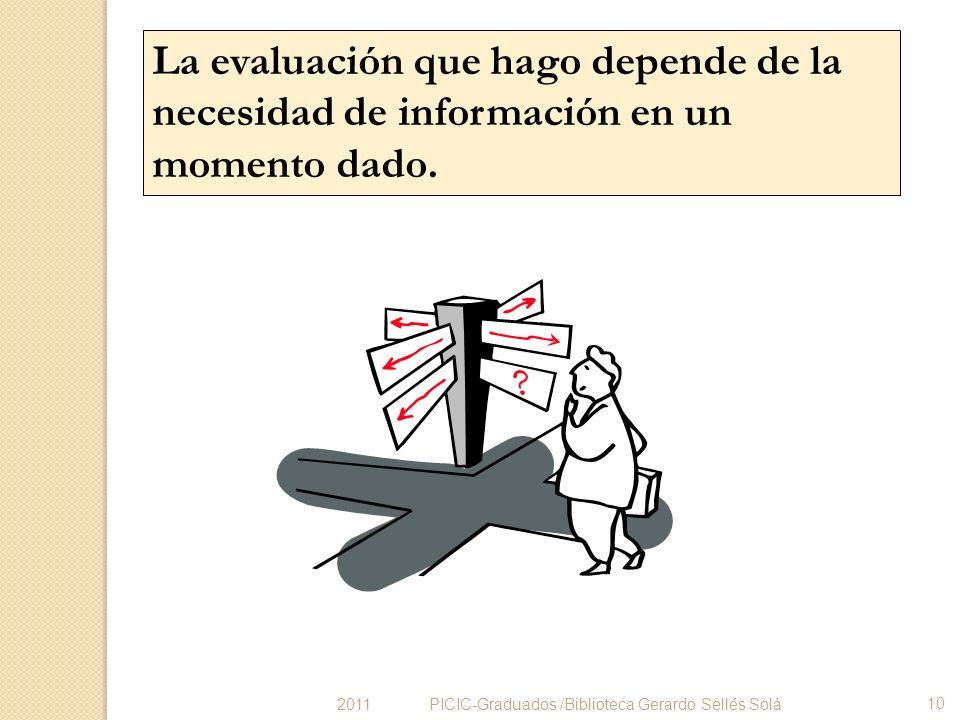 La evaluación que hago depende de la necesidad de información en un momento dado. PICIC-Graduados /Biblioteca Gerardo Sellés Solá 10 2011