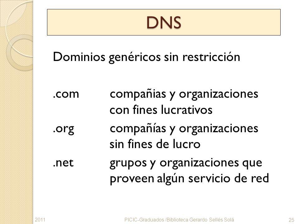 DNS Dominios genéricos sin restricción.com compañias y organizaciones con fines lucrativos.org compañías y organizaciones sin fines de lucro.net grupo