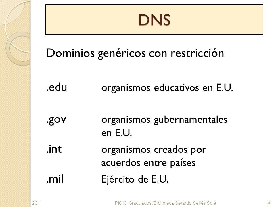 DNS Dominios genéricos con restricción.edu organismos educativos en E.U..gov organismos gubernamentales en E.U..int organismos creados por acuerdos en