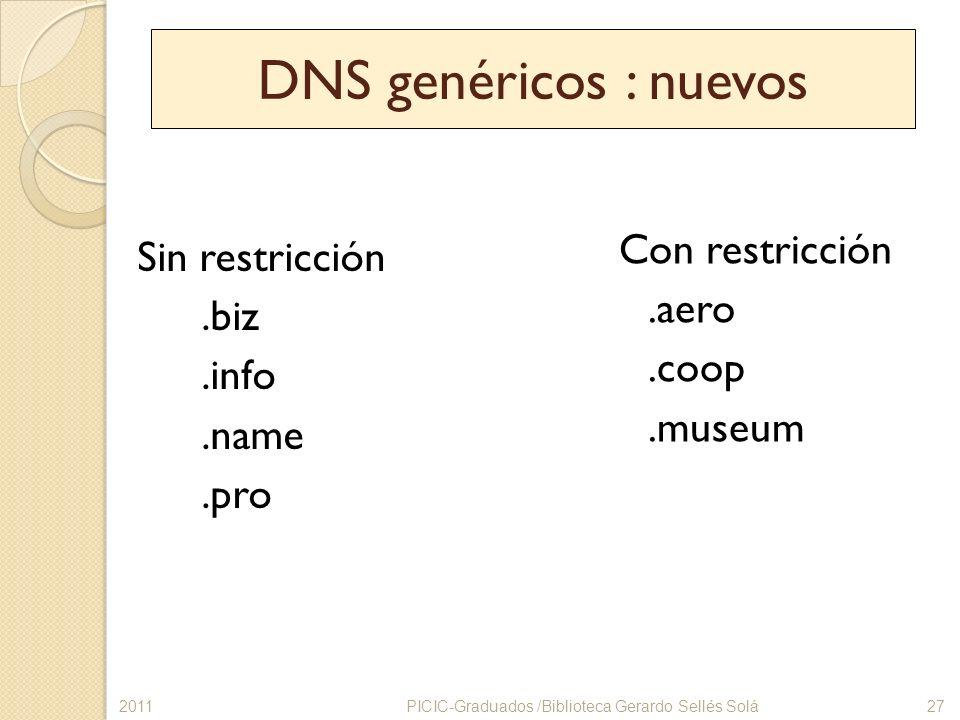 DNS genéricos : nuevos Sin restricción.biz.info.name.pro Con restricción.aero.coop.museum PICIC-Graduados /Biblioteca Gerardo Sellés Solá272011