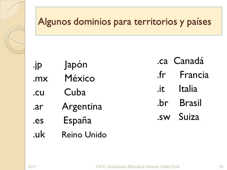 Algunos dominios para territorios y países.jp Japón.mx México.cu Cuba.ar Argentina.es España.uk Reino Unido.ca Canadá.fr Francia.it Italia.br Brasil.s