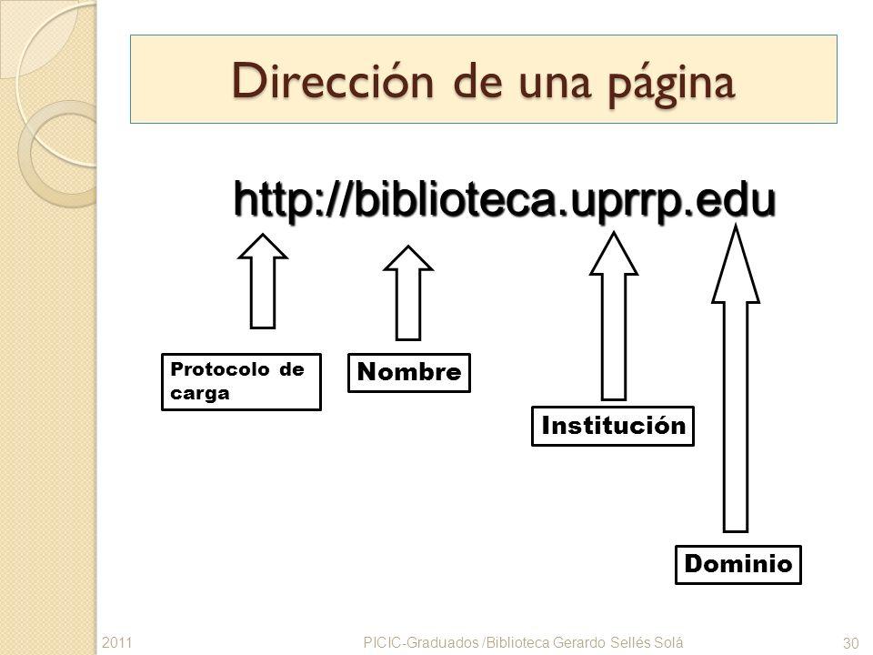 Dirección de una página Nombre Institución http://biblioteca.uprrp.edu http://biblioteca.uprrp.edu Dominio Protocolo de carga PICIC-Graduados /Bibliot