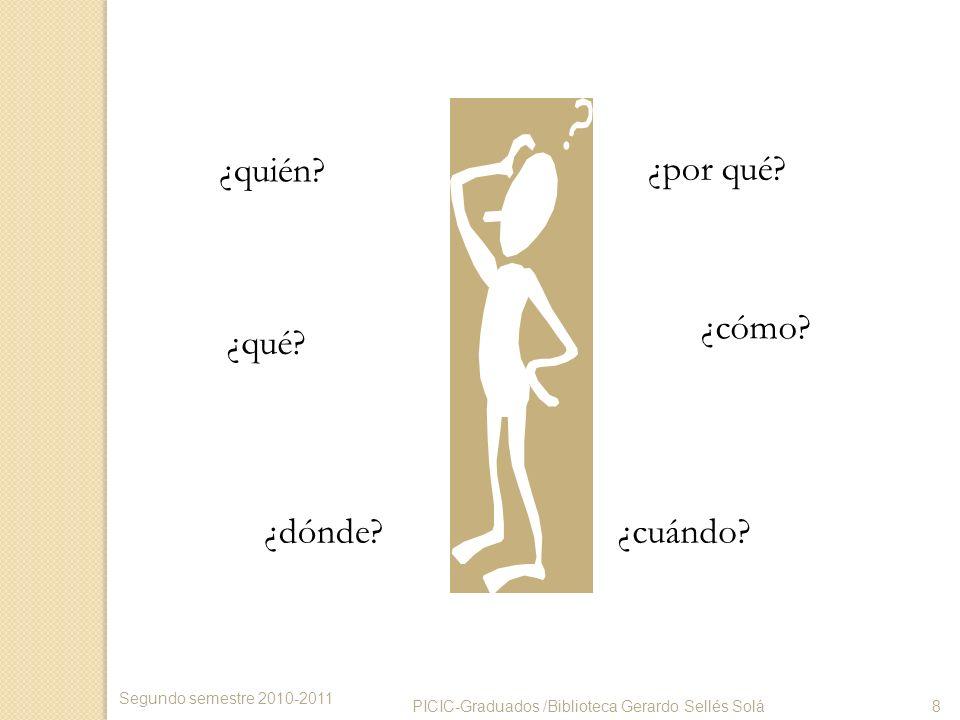 ¿quién? ¿qué? ¿dónde?¿cuándo? ¿cómo? ¿por qué? PICIC-Graduados /Biblioteca Gerardo Sellés Solá8 Segundo semestre 2010-2011