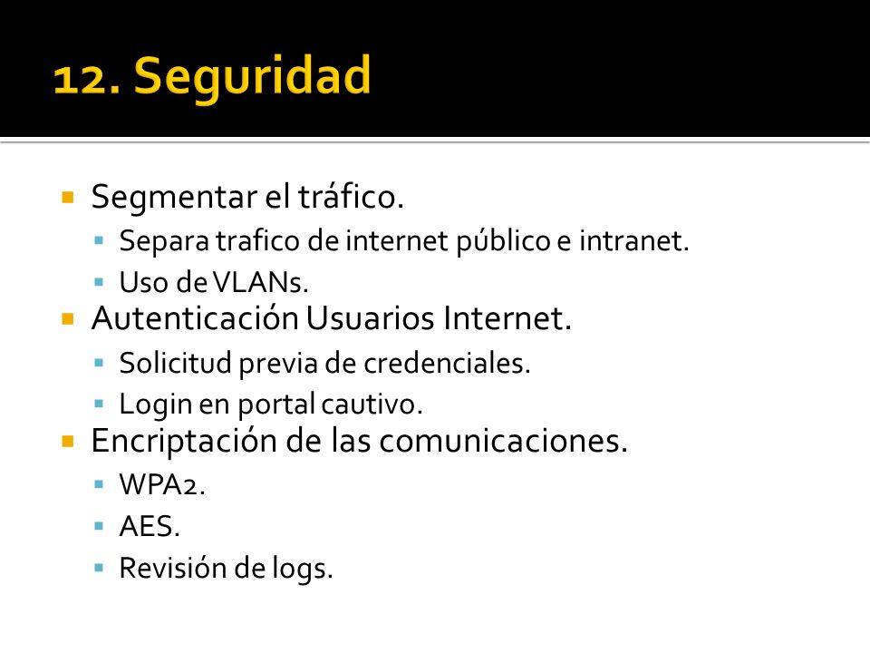 Segmentar el tráfico. Separa trafico de internet público e intranet. Uso de VLANs. Autenticación Usuarios Internet. Solicitud previa de credenciales.
