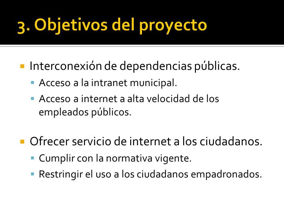 Interconexión de dependencias públicas. Acceso a la intranet municipal. Acceso a internet a alta velocidad de los empleados públicos. Ofrecer servicio
