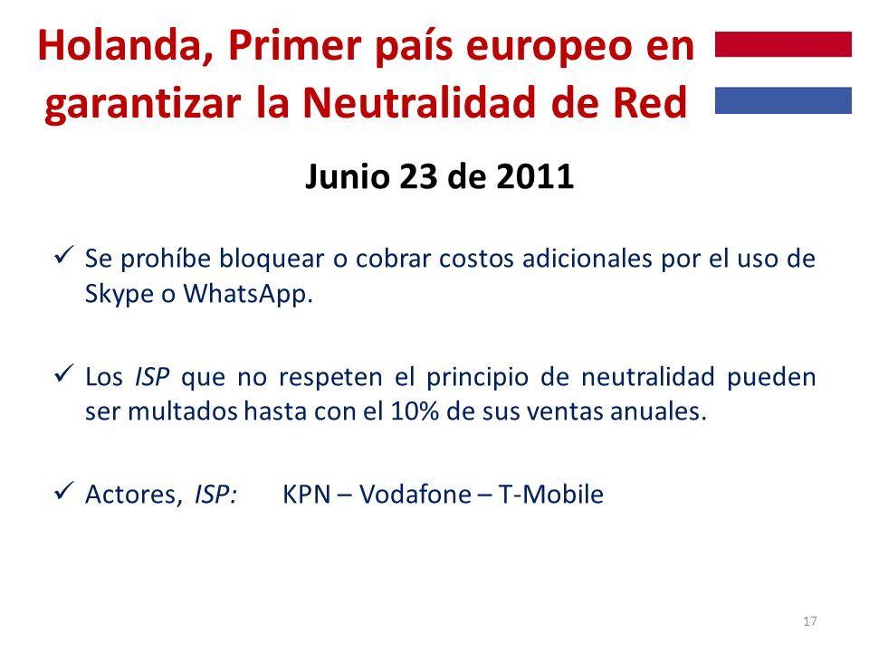 Holanda, Primer país europeo en garantizar la Neutralidad de Red Junio 23 de 2011 Se prohíbe bloquear o cobrar costos adicionales por el uso de Skype