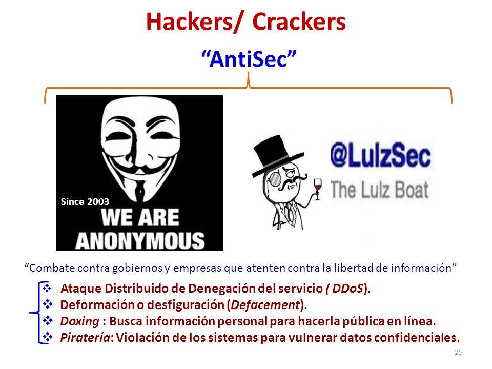 Hackers/ Crackers 25 Ataque Distribuido de Denegación del servicio ( DDoS). Deformación o desfiguración (Defacement). Doxing : Busca información perso