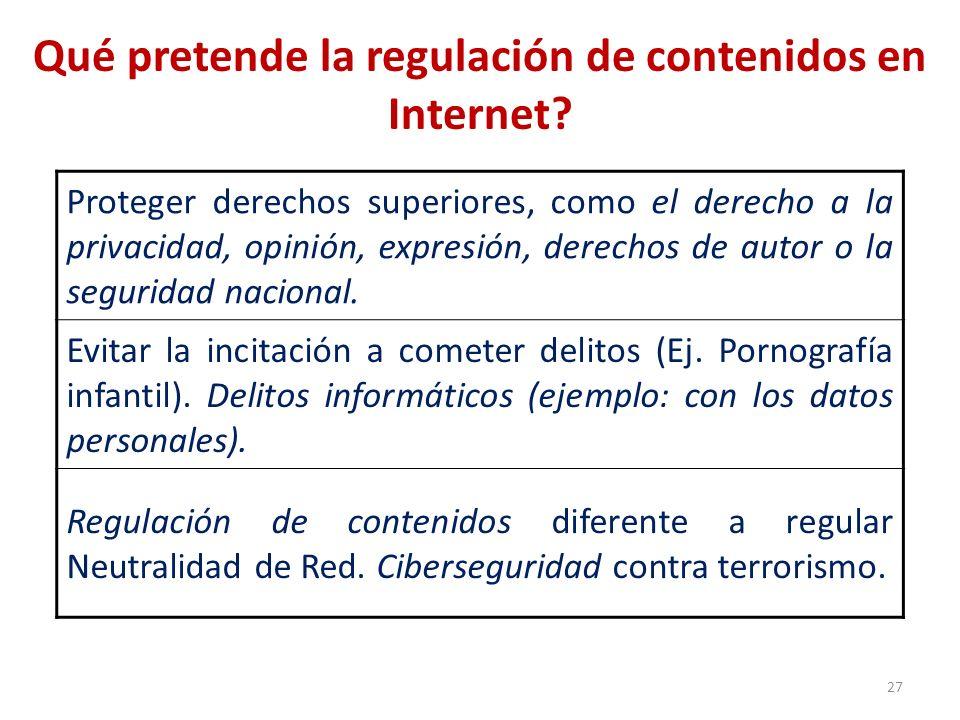 Qué pretende la regulación de contenidos en Internet? Proteger derechos superiores, como el derecho a la privacidad, opinión, expresión, derechos de a