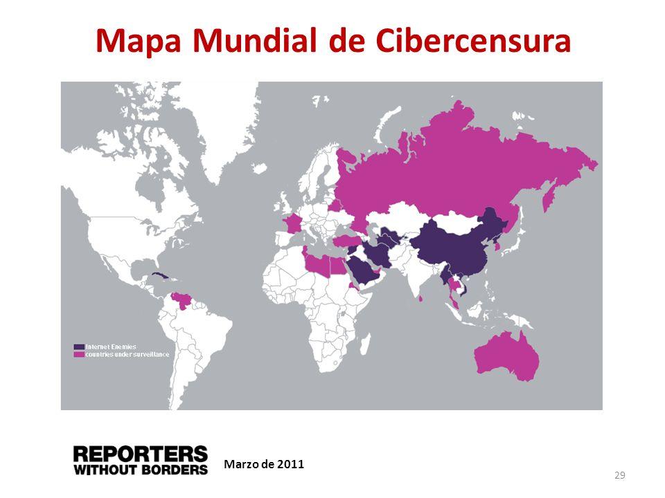 Mapa Mundial de Cibercensura Marzo de 2011 29