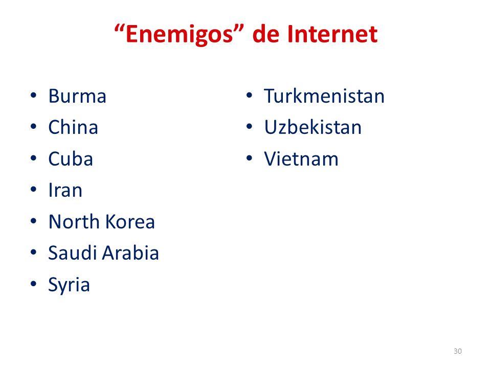 Enemigos de Internet Burma China Cuba Iran North Korea Saudi Arabia Syria Turkmenistan Uzbekistan Vietnam 30