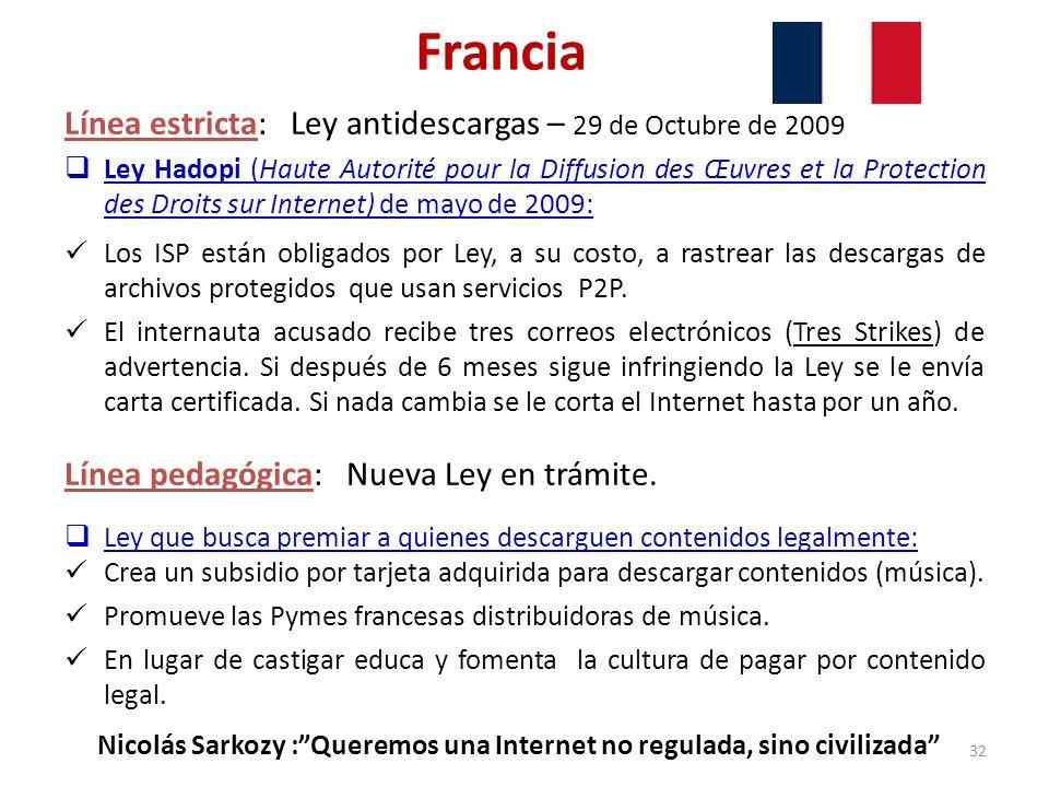 Francia Línea estricta: Ley antidescargas – 29 de Octubre de 2009 Ley Hadopi (Haute Autorité pour la Diffusion des Œuvres et la Protection des Droits