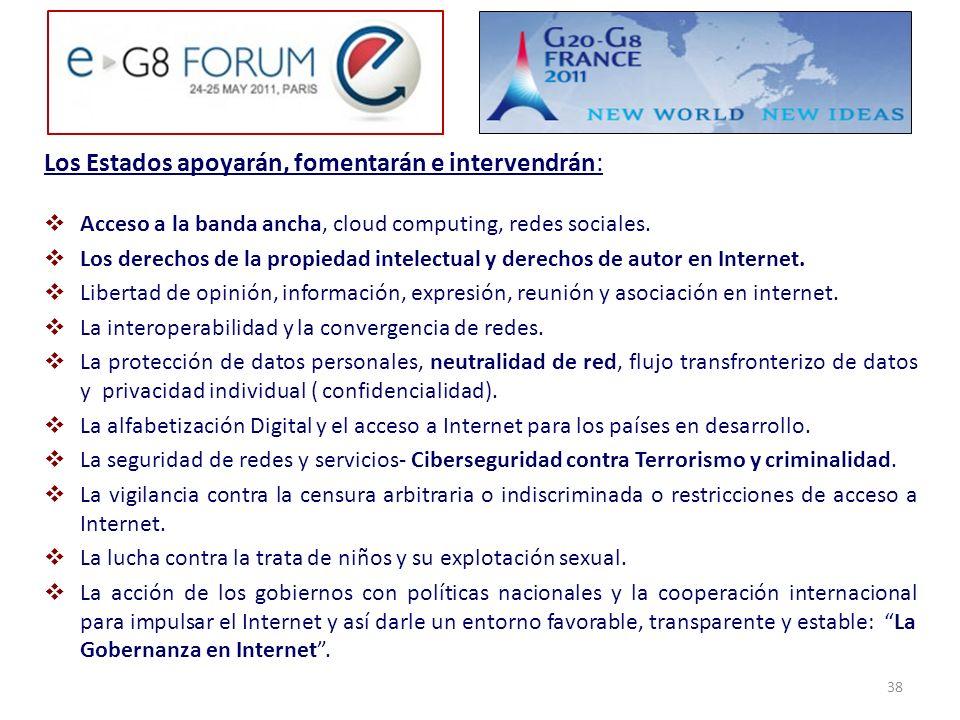 Los Estados apoyarán, fomentarán e intervendrán: Acceso a la banda ancha, cloud computing, redes sociales. Los derechos de la propiedad intelectual y