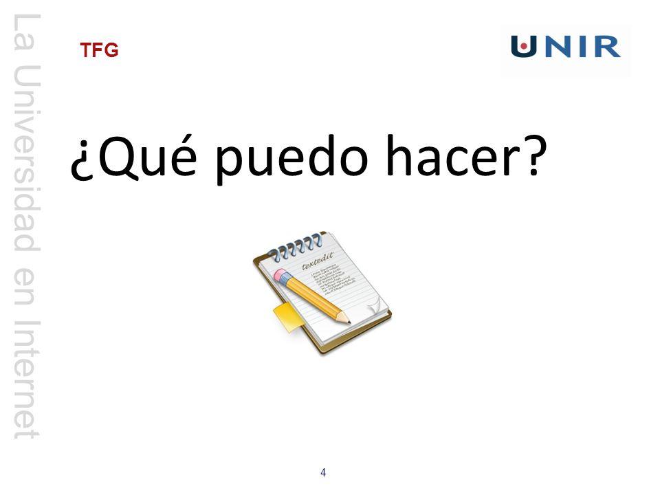 La Universidad en Internet 4 TFG ¿Qué puedo hacer?